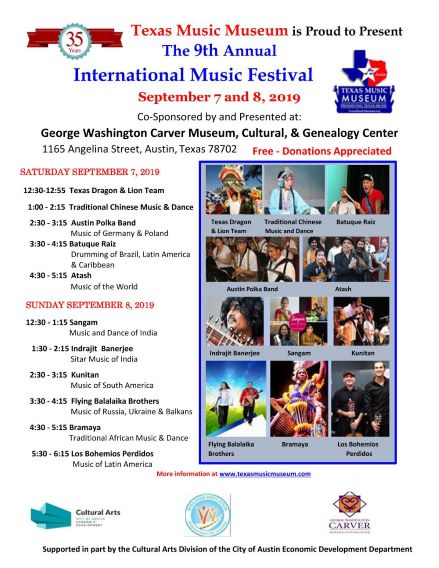 Music Festival Sept  7 and 8, 2019 Texas Music Museum's 9th