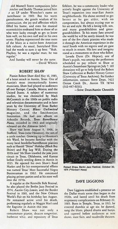 Robert Shaw Tribute, by Steve Dean