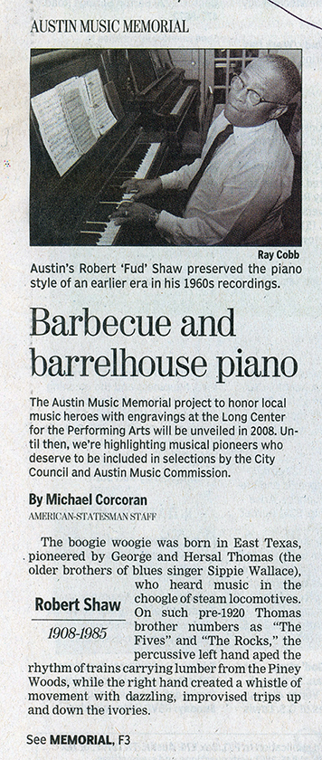 Barbecue and barrelhouse piano, by Michael Corcoran