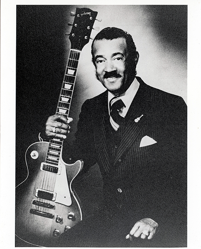 """Connie Curtis """"Pee Wee"""" Crayton with his guitar, Texas Music Museum Archives"""